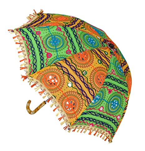 Lal Haveli Designer Handmade Embroidery Cotton Umbrella Parasol 21 x 26 inches