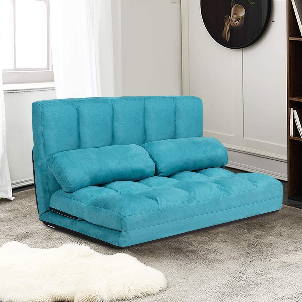 Giantex Adjustable Floor Sofa, Foldable Lazy Sofa Sleeper Bed 6-Position Adjustable, Suede Cloth Cover Detachable, Floor Gaming Sofa Couch with 2 Pillows for Bedroom Living Room Balcony Blue