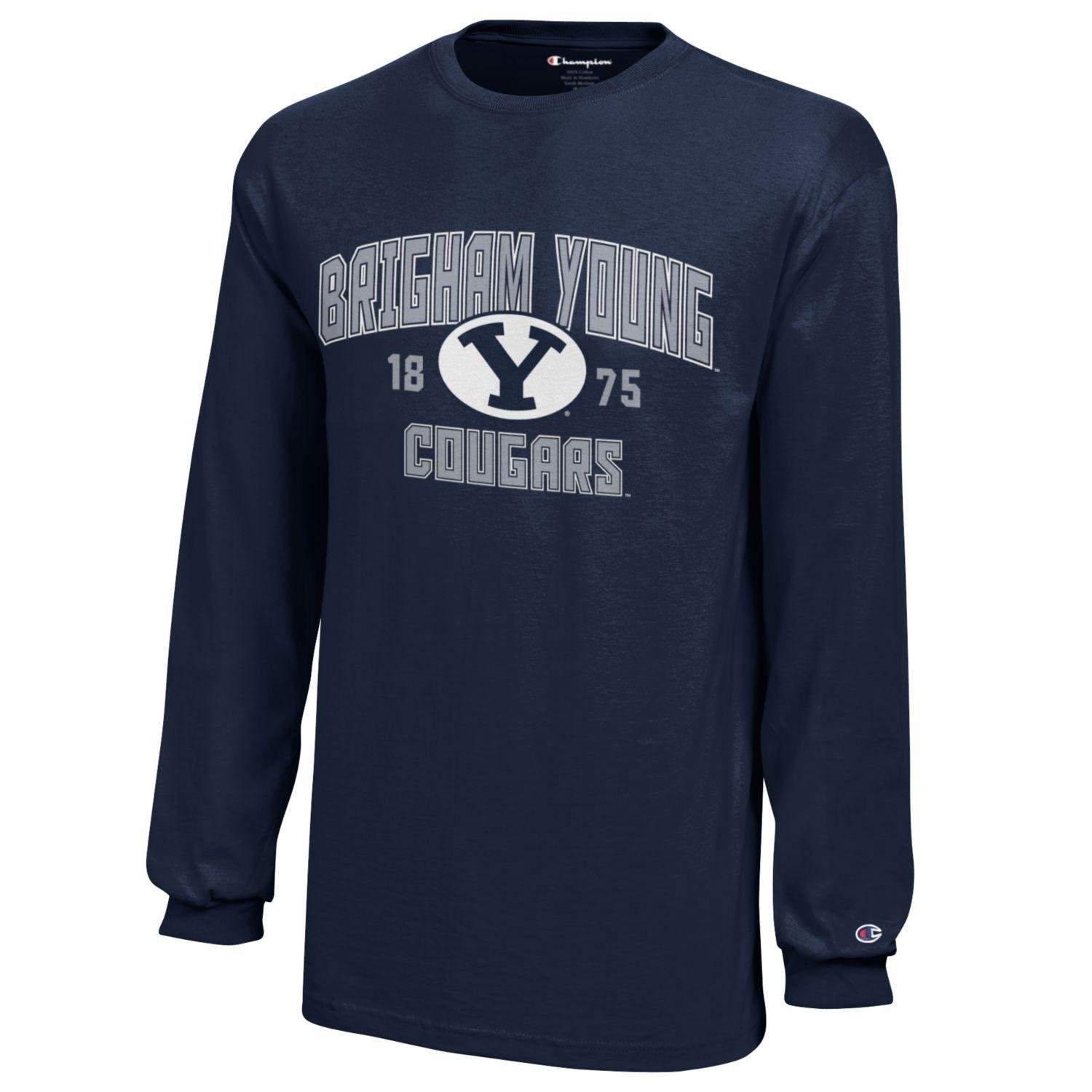 reputable site 31945 6cd07 NCAA Champion Boy's Long Sleeve Jersey T-Shirt BYU Cougars Small