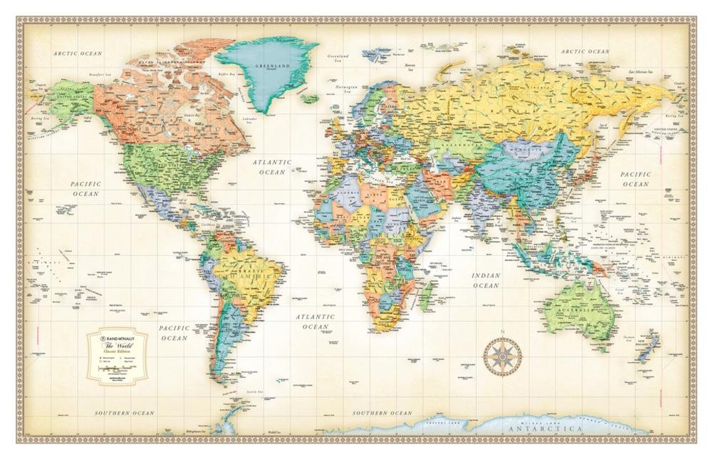 Map of the world poster amazon rand mcnally classic world wall map gumiabroncs Image collections