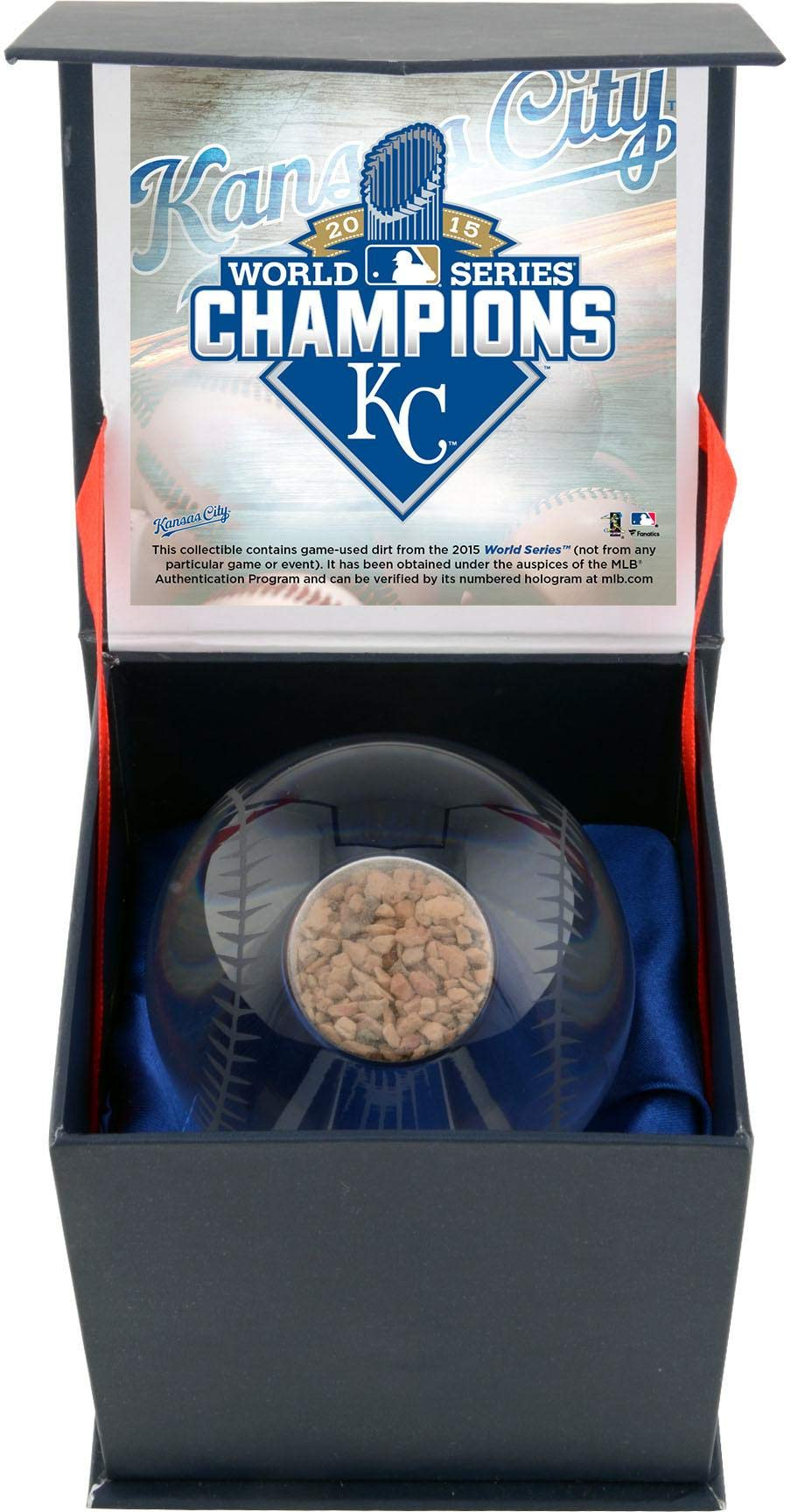 Kansas City Royals 2015 MLB World Series Champions Crystal Baseball with Game Used 2015 World Series Dirt Fanatics Authentic Certified