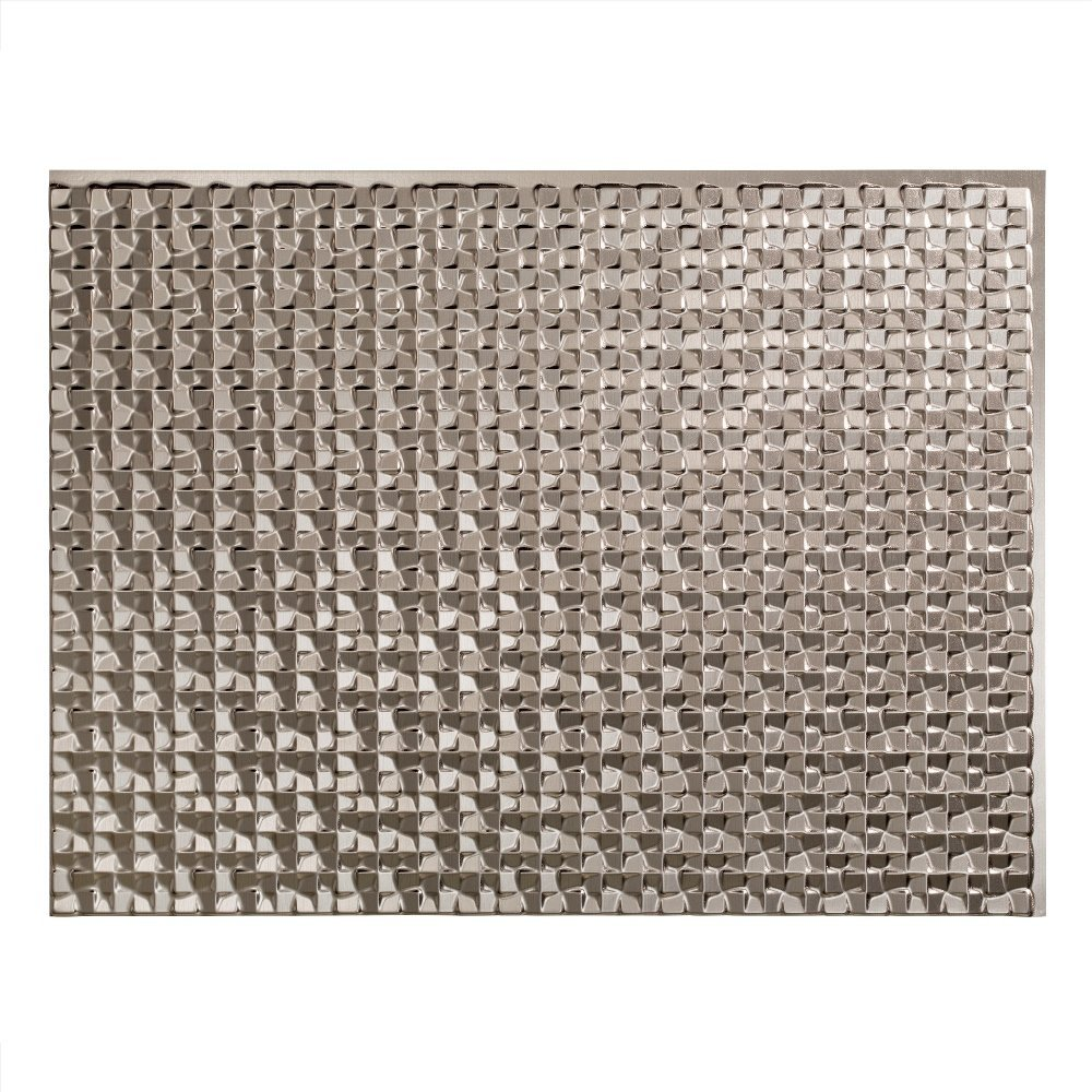 Fasade Easy Installation Terrain Brushed Nickel Backsplash Panel for Kitchen and Bathrooms (18'' x 24'' Panel)