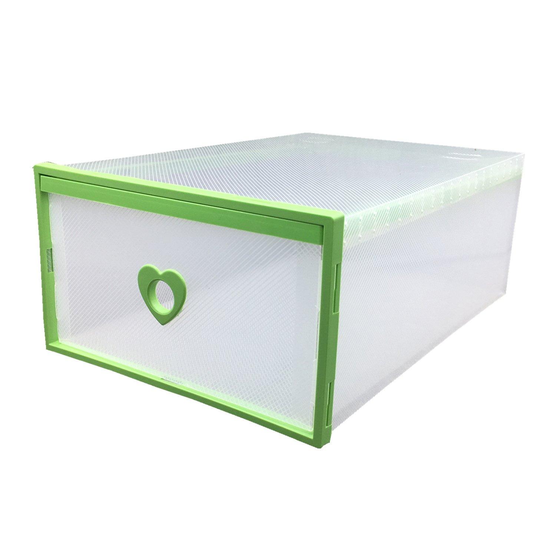 Smilun Portable Shoe Boxes Container for Closet Organizer Clear Plastic Shoe Boxes Shelf Stackable Foldable Organizer Box Green Heart12PCs