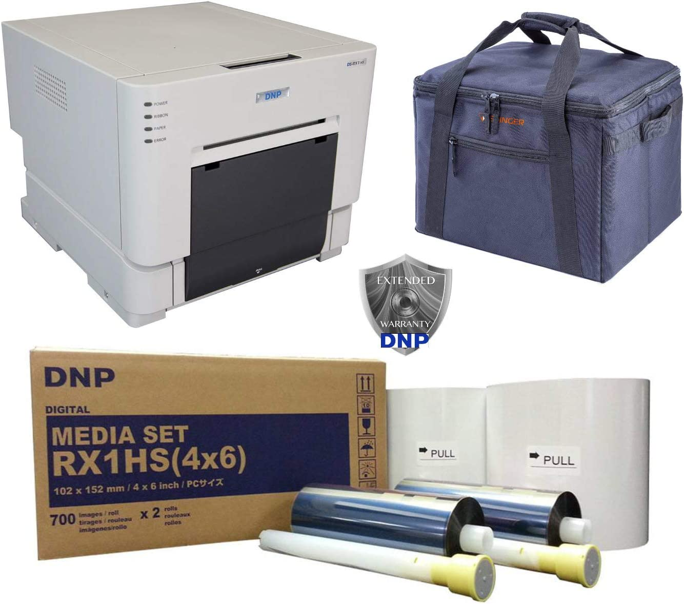 DNP DS-RX1HS Compact Event Photo Booth Portrait Printer Bundle with DNP Print Media 4x6-inch, 2 Rolls + Slinger Padded Printer Carrying Case + DNP 3 Year Extended Warranty