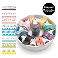 We R Memory Keepers Washi Tape Dispenser Kit Gift Set Organizer includes 16 Decorative Washi Tape for DIY Arts and Crafts Projects, Journaling, Planner Accessories, Scrapbooking