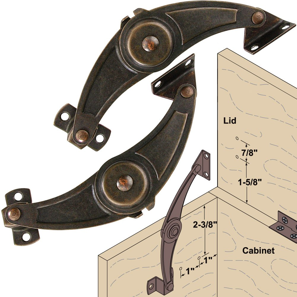 Platte River 937383, Hardware, Closing Mechanisms, Friction Lid Supports, Friction Lid Stay-Dark Bronze
