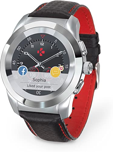 MyKronoz ZeTime Petite Premium Hybrid Smartwatch 39mm with Mechanical Hands Over a Color Touch Screen, Swiss Design, iOS and Android Polished Silver Black Carbon Red Stitching