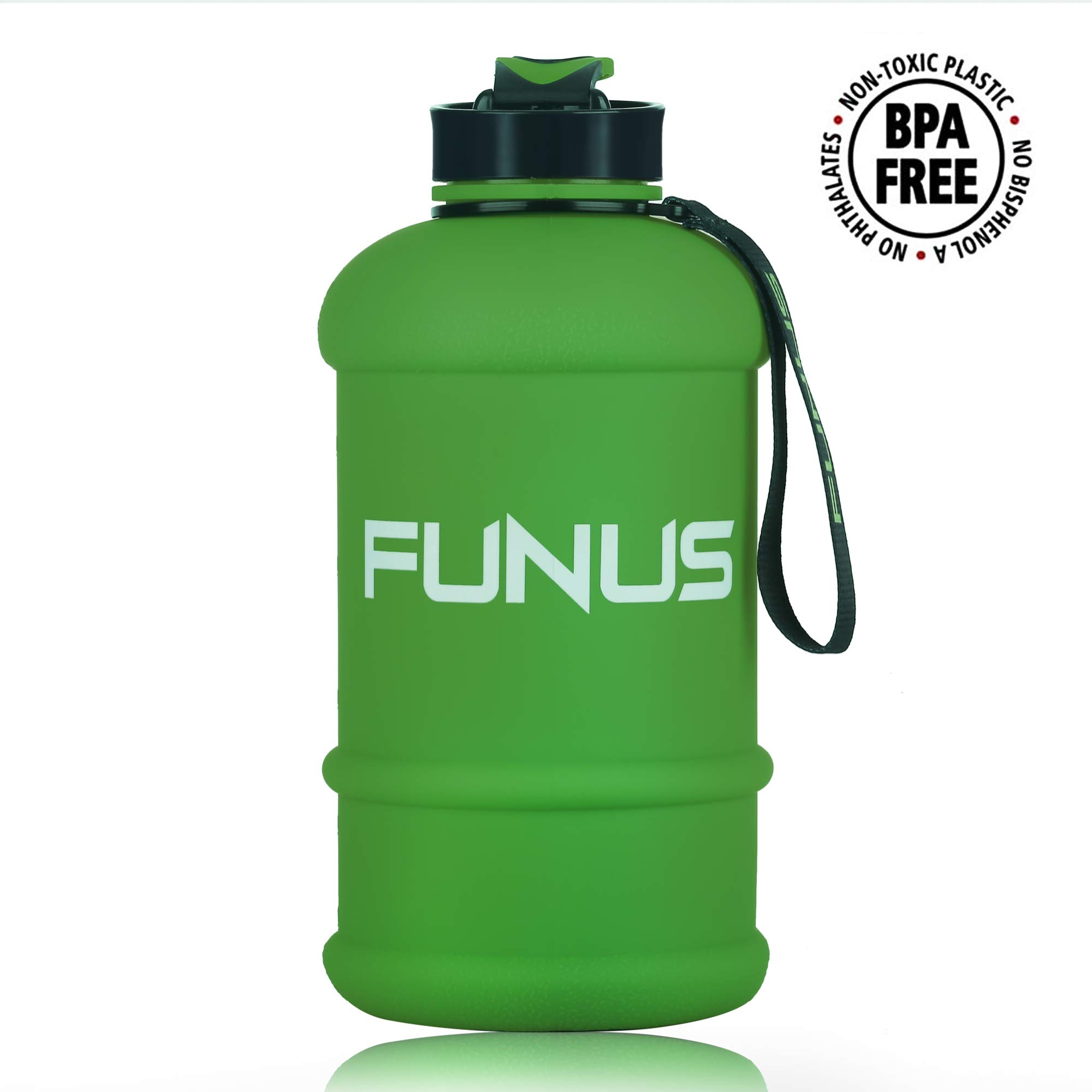 FUNUS Big Water Bottle 1.3L-2.2L Large Water Bottle BPA Free Leak Proof Reusable Odorless Big Capacity Water Jug for Men Women Fitness Gym Outdoor Climbing Gym Water Bottle (1.3L Matte Olive Green) by FUNUS