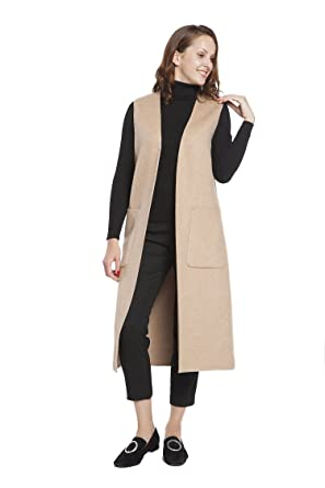 Waistcoat Handmade Rlm Ladies Vest Coat Cardigan Long Woolen Sleeveless eWE9HYD2Ib