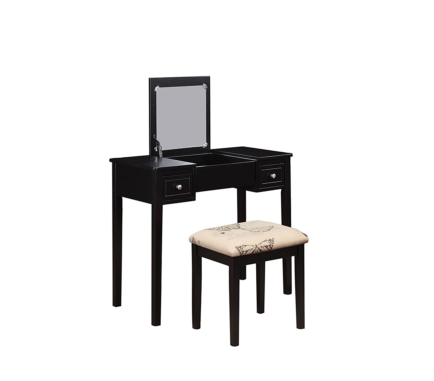 amazon com linon home decor vanity set with butterfly bench