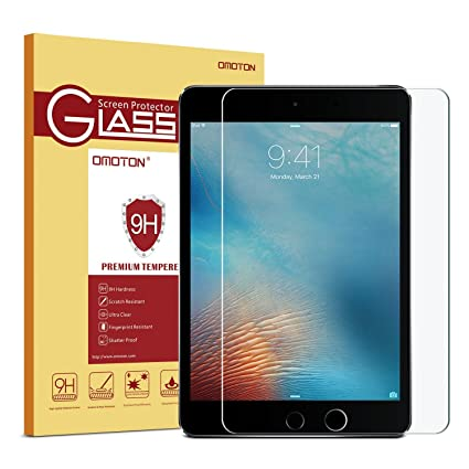 26c109186aa4 OMOTON Ultra Clear 9H Hardness Tempered-Glass Screen Protector iPad 2018 &  2017 9.7