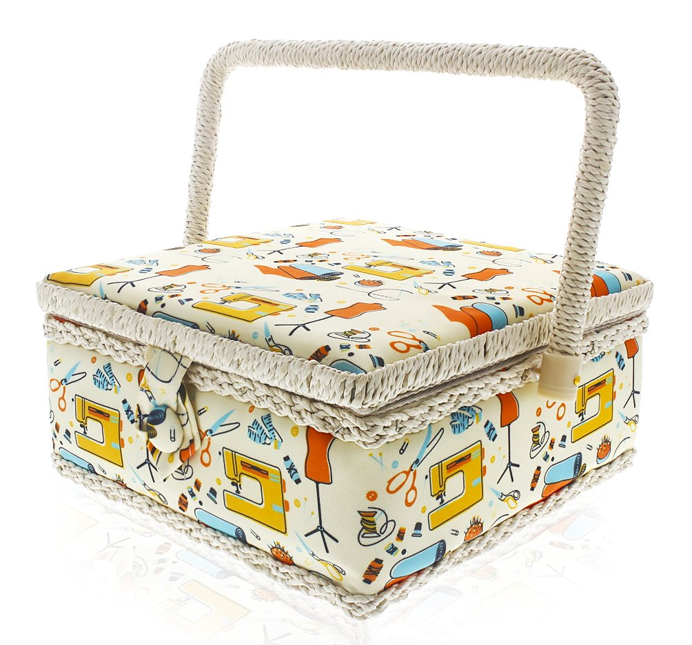 Sewing Basket Organizer - Stitching Supplies Organizer Sewing Kit Storage Container - Ideal for Needles, Thread, Pins, Tape Measure, Thimbles, Scissors and Other Sewing Accessories - 8 x 8 x 4 Inches by Juvale