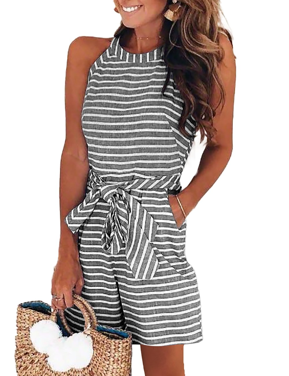 DUBACH Women Casual Striped Sleeveless Short Romper Jumpsuit L Gray