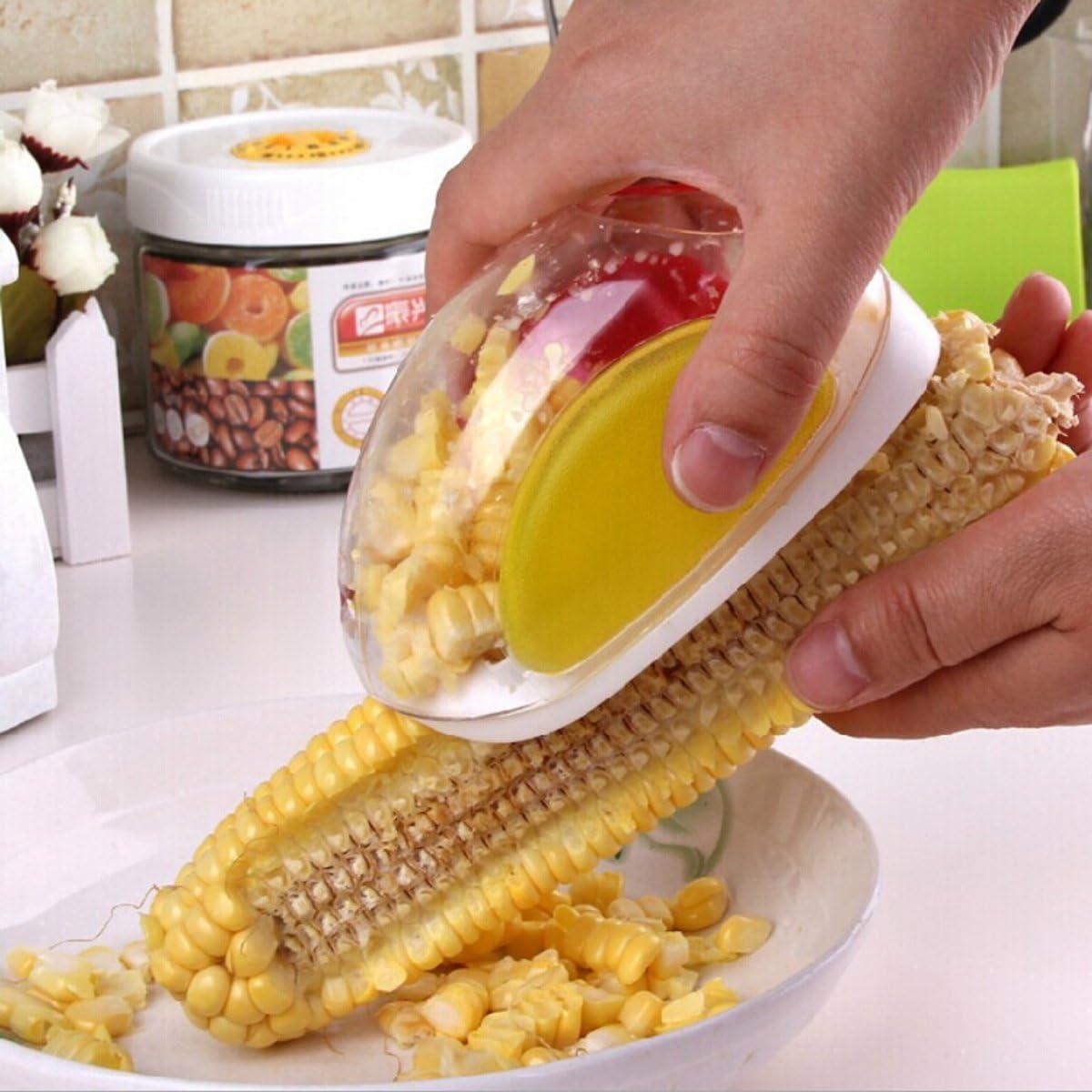 OUNONA Pelador de ma/íz Cocina Herramientas Remover con protector de mano