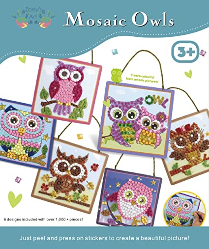 Amazon Com Mosaic Owls Art And Craft Sticky Mosaic Kit For Kids
