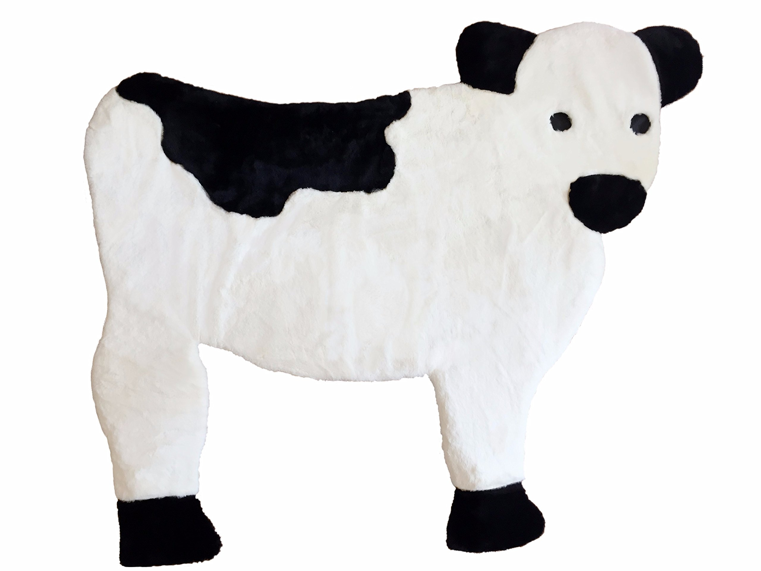 Baby Cow Nursery Rug, Play Mat, Blanket Or Bed Cover in Plush Faux Fur with Non-Slip Suede Backing