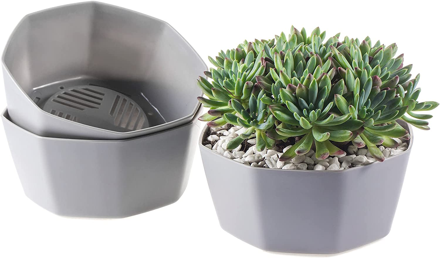 3 Pack Grey Flower Pots Outdoor Indoor Garden Planters, Plant Containers with Drain Hole, Plant Pots for All Home Garden Flowers Succulents.