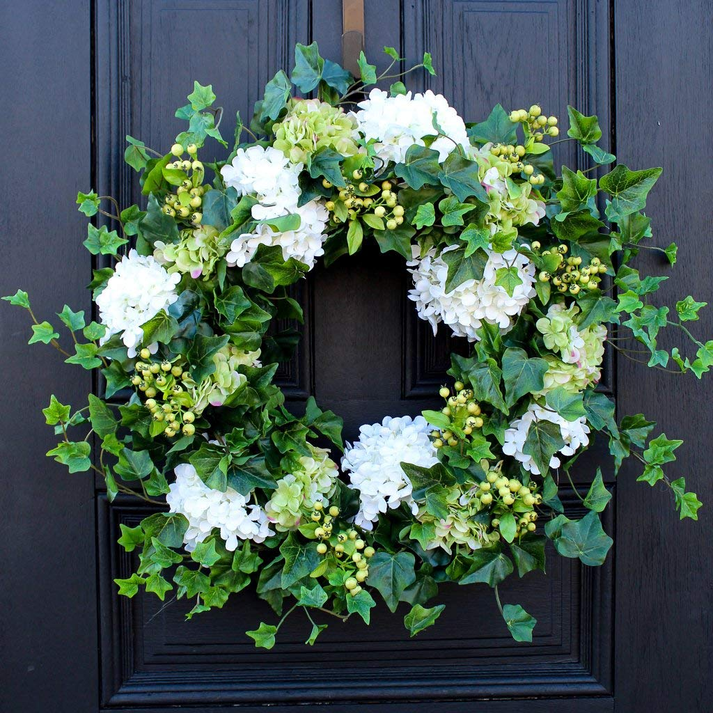 Darby Creek Trading Green & White Hydrangea, English Ivy & Berry Everyday Spring Wreath