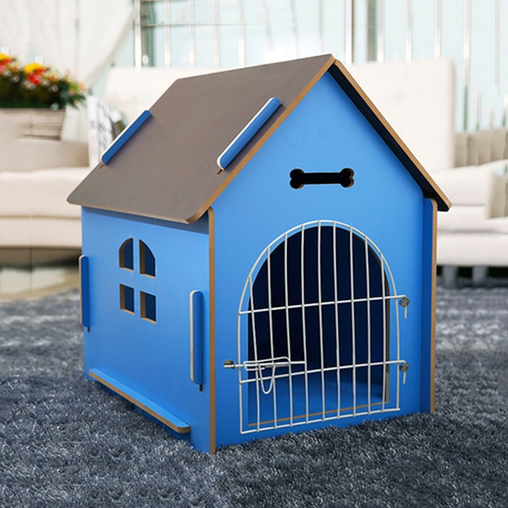 bluee M bluee M YXINY Pet Housing Indoor Outdoor Pet House Solid Wood Kennel Villa Animal Hide Shed Cat Nest Fossa Waterproof Green bluee Pink (color   bluee, Size   M)
