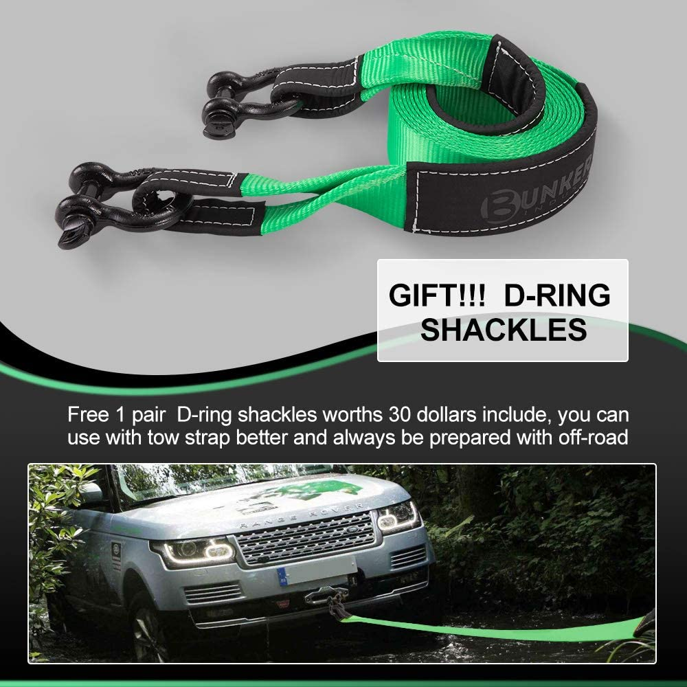 3 x 20ft Heavy Duty 30,000 lbs Strength Tow Rope with Storage Bag and 2pcs D Ring Shackles-Emergency Off Road Truck Accessories Towing Strap Green BUNKER INDUST Recovery Tow Strap Kit