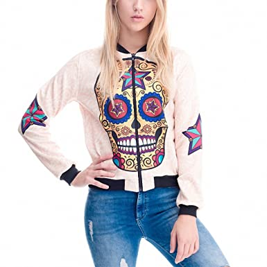 Womens Clothing Bomber Jacket 3D Printed Mexican Skull Star Chaquetas Mujer Outwear Long Sleeve Coats Jackets