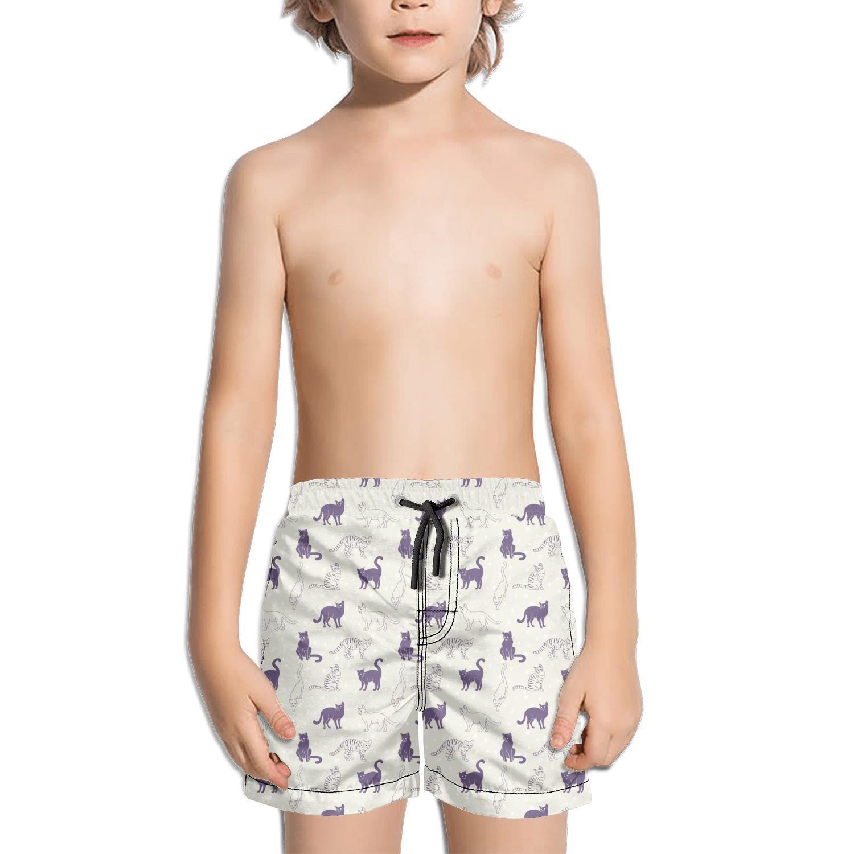 Websi Wihey Boy's Quick Dry Swim Trunks White and Black Leopard Cat Yellow Background Fashione Shorts