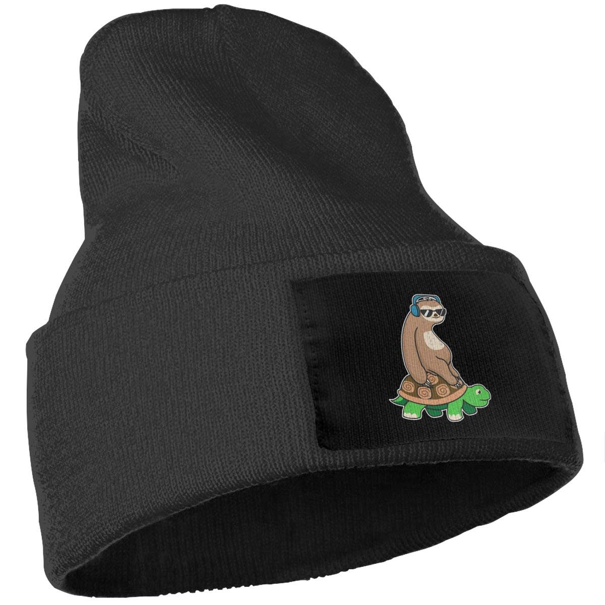 Unisex Sloth Ride Turtle Listen to Music Outdoor Warm Knit Beanies Hat Soft Winter Knit Caps