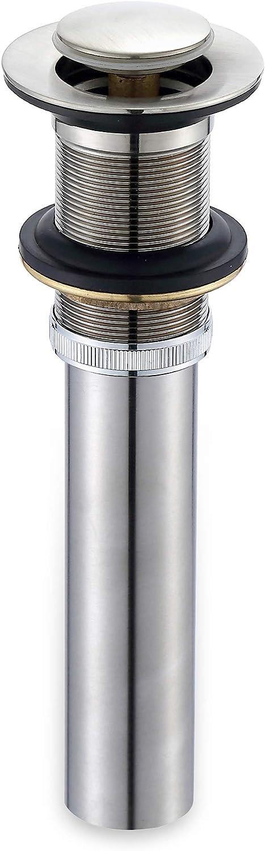 "Decor Star PU-003-TB-V2 1 1/2"" Bathroom Faucet Vessel Vanity Sink Pop Up Drain Stopper Without Overflow Brushed Nickel"