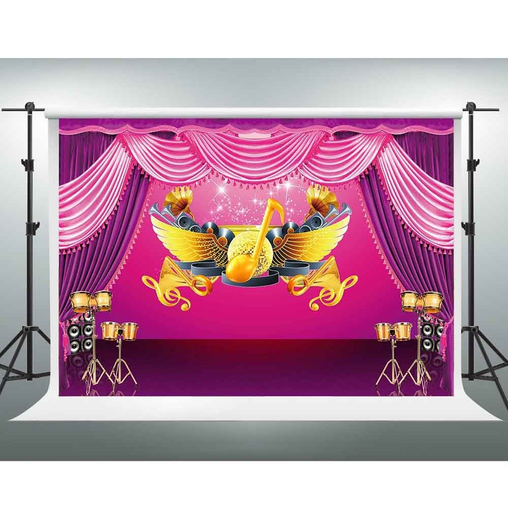 7 X 5ftカラフルステージBackdrop音楽機器ドラムコンサート写真背景のテーマパーティーYou Tube背景フォトスタジオ撮影ブース小道具pgge191   B07FP6GZ7L