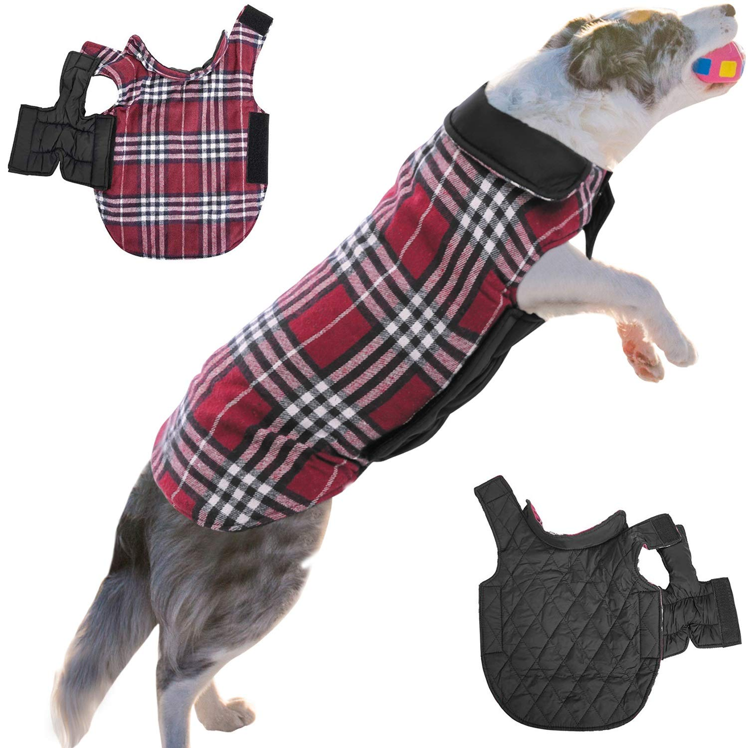 Red XS(Back 10.63'' Neck 12.59'' Chest 13.39-14.96'') Red XS(Back 10.63'' Neck 12.59'' Chest 13.39-14.96'') ASENKU Dog Coat Dog Jacket for Winter Cold Weather Windproof Waterproof Dog Clothes Reversible British Style Plaid Pet Dog Warm Vest for Small Medi