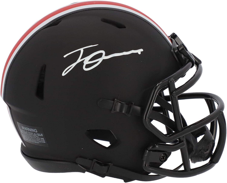 Jeff Okudah Ohio State Buckeyes Autographed Riddell Eclipse Speed Mini Helmet Autographed College Mini Helmets