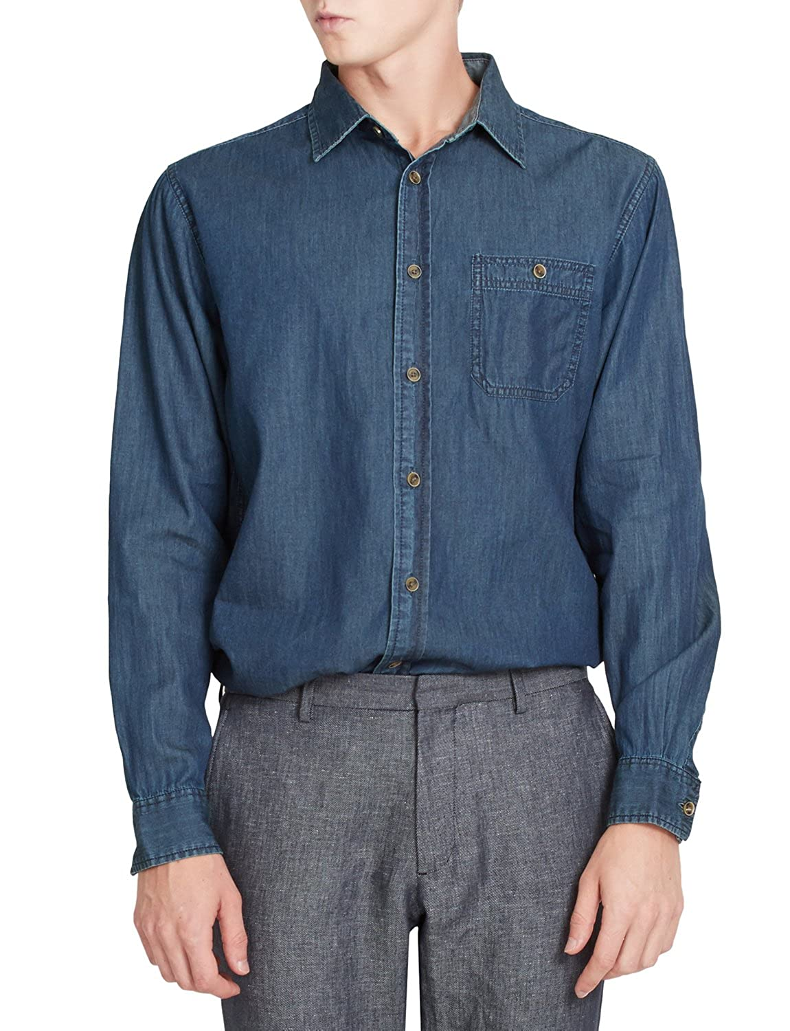 1910s Men's Working Class Clothing LE3NO PREMIUM Mens Vintage Long Sleeve Button Down Work Denim Shirt $43.54 AT vintagedancer.com