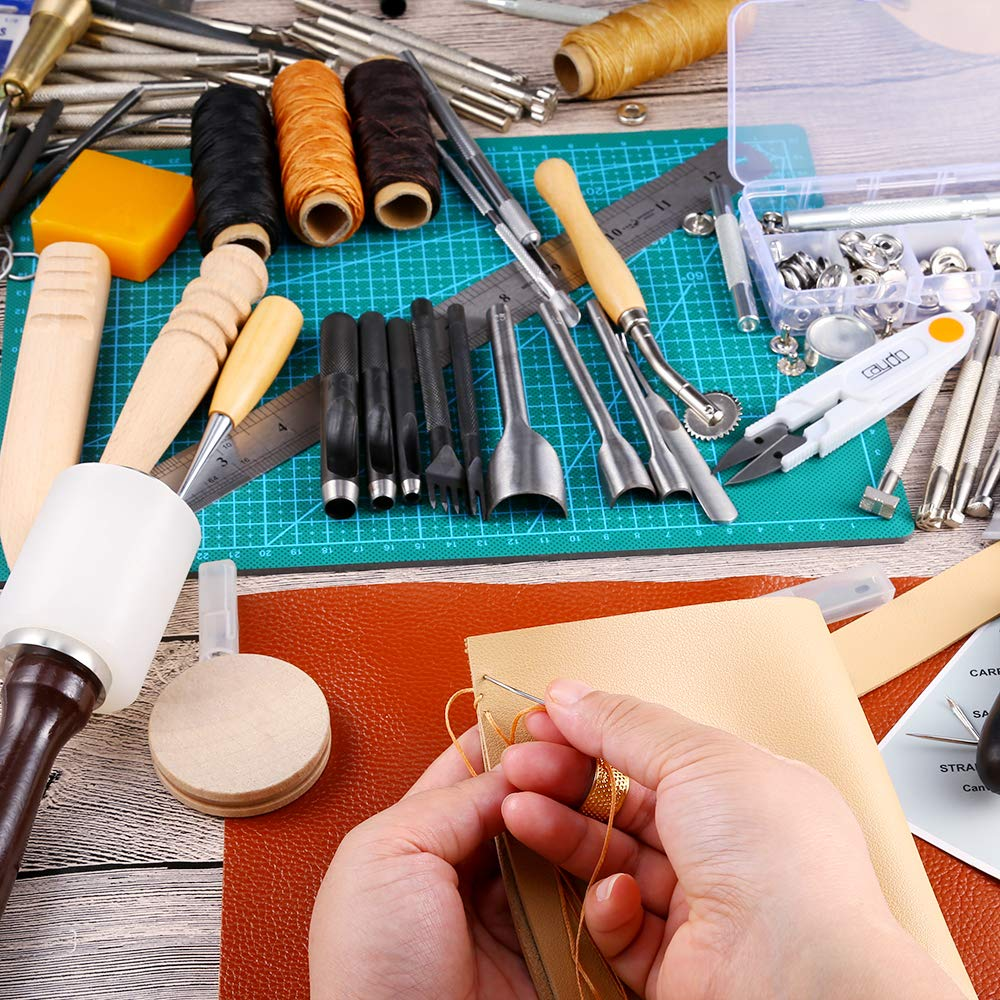 Caydo 127 Pieces Leather Craft Tools Kit with Instructions, Leather Sewing Tools, Punch Tools, Rivets Tools, Stamping Set and Wooden Handle Nylon Hammer for Leather Craft and Saddle Making Tools by Caydo (Image #5)