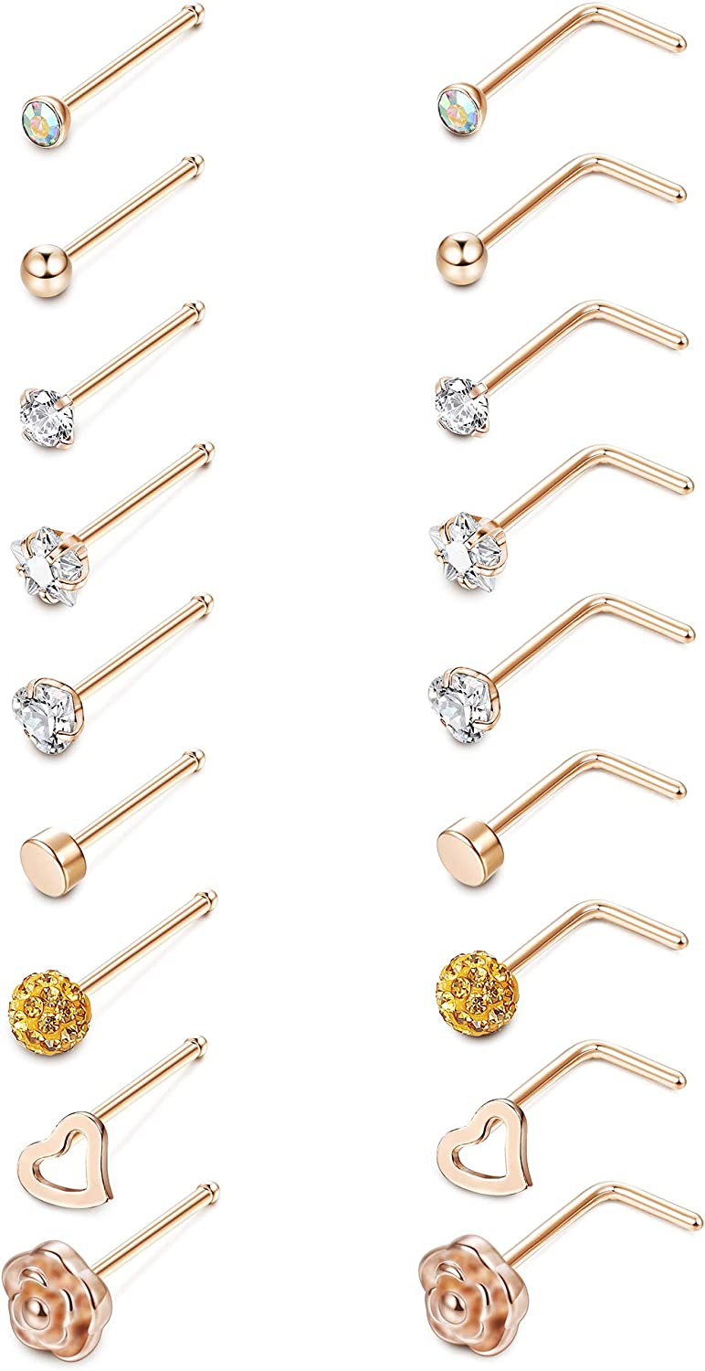 Loyallook 20g L Shaped Heart Cz Nose Stud Stainless Steel Rose