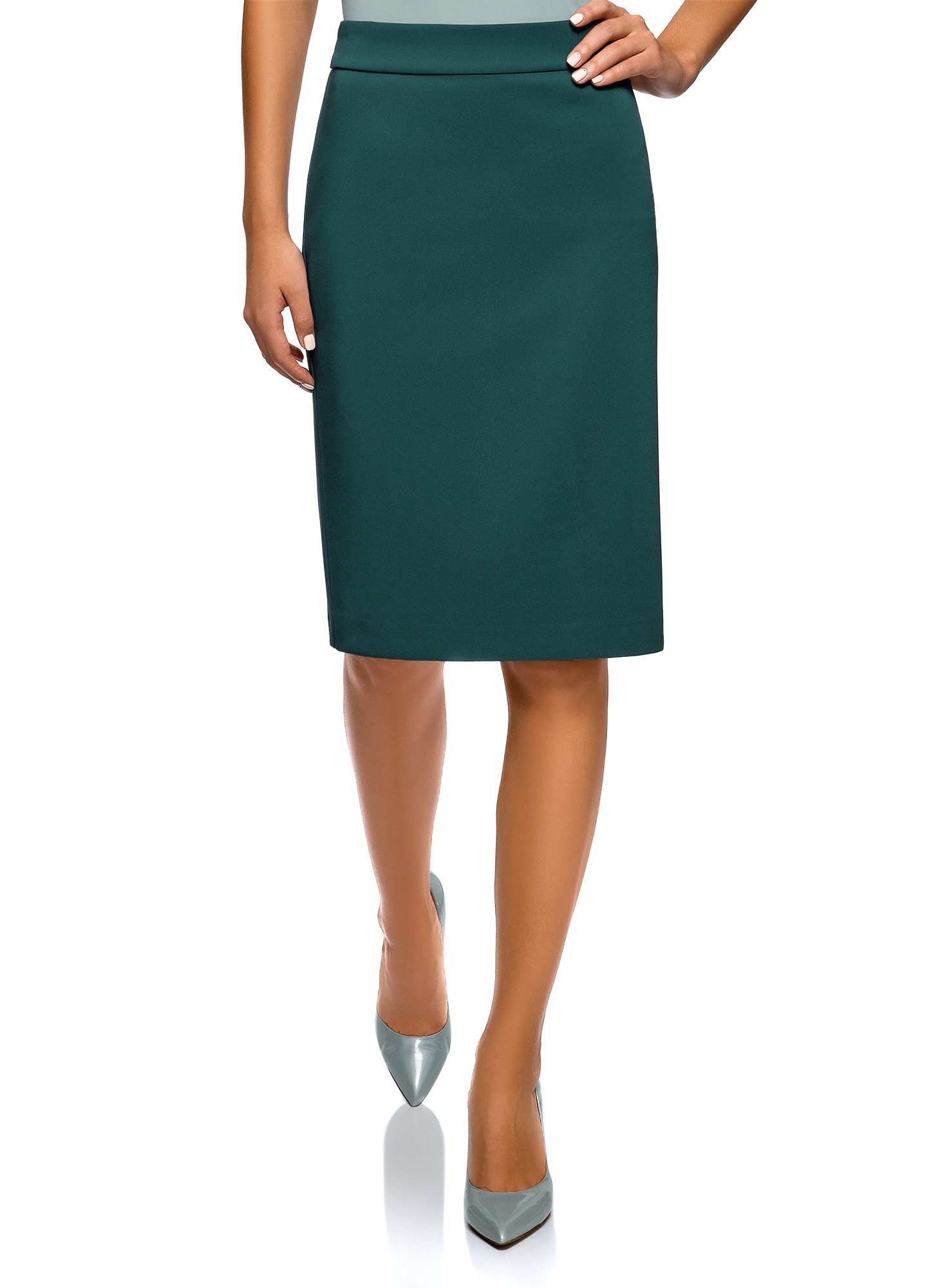 oodji Collection Women's Basic Pencil Skirt, Green, 8 by oodji