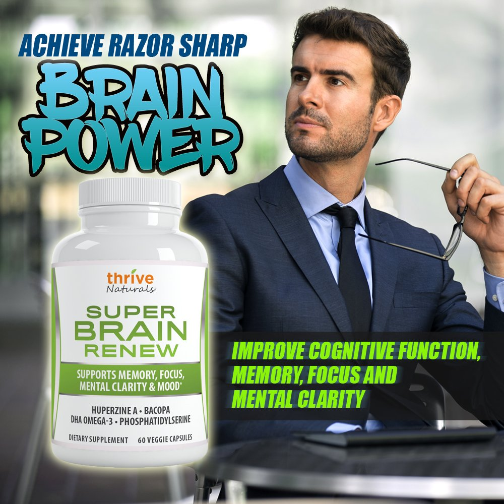 Thrive Naturals Super Brain Renew - Maximum Strength for Improved Cognitive Function, Memory, Focus and Mental Clarity - 60 Vegetarian Capsules - 1 Month Supply by Thrive Naturals (Image #4)