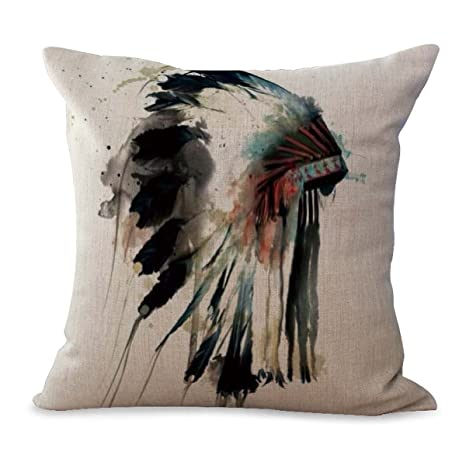 Native American Headdress Water Color cushion cover pillows for sofas  decorating