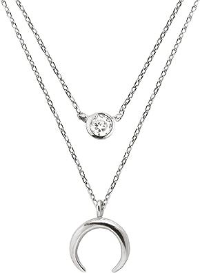 Pack 2 Collares Diamond + Mini Moonset Plata: Amazon.es: Joyería