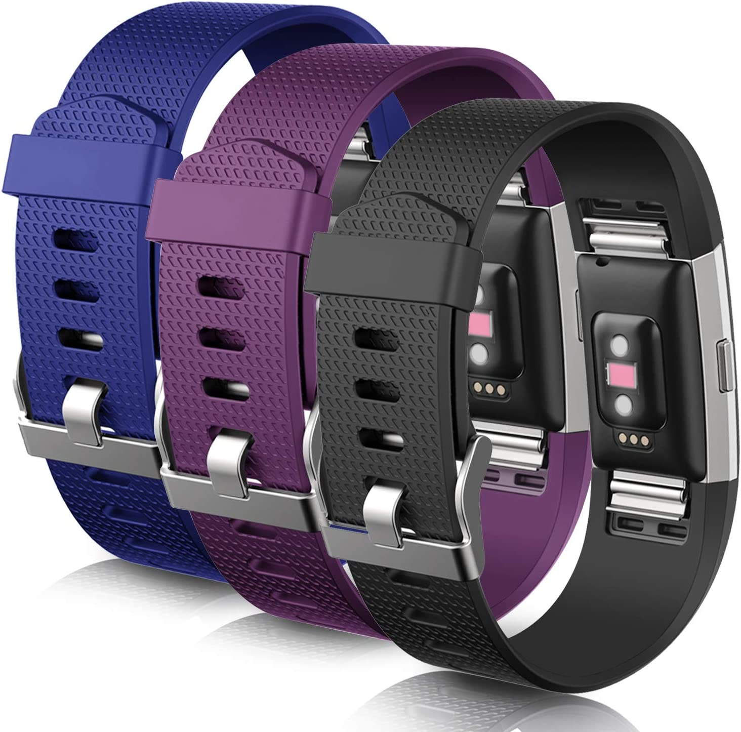 Large Grey Mornex Strap Compatible Fitbit Charge 2 TPU Band Sport Straps with Metal Clasp Classic Adjustable Wristband Replacement