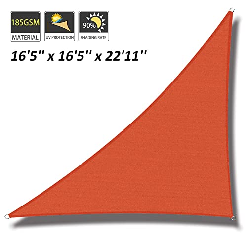 Cool Area 16 5 x 16 5 x 22 11 Triangle Sun Shade Sail for Patio Garden Outdoor, UV Block Canopy Awning, Terra