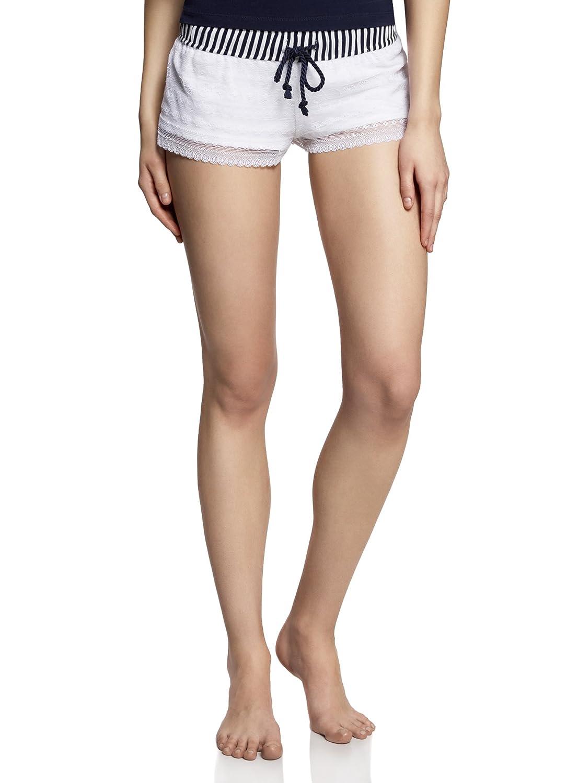 oodji Ultra Damen Shorts mit Spitzen und Kontrastem Bund