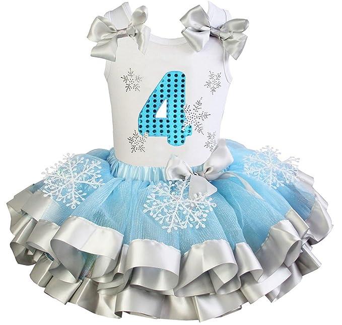 Kirei Sui Niñas tutú de azul plateado de raso. Número 4 vestido de fiesta de