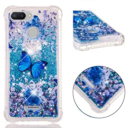 Funluna Funda Xiaomi Redmi 6 / Redmi 6A, Carcasa Glitter Líquido 3D Bling Silicona Flowing Brillar Sparkle Cristal Choque Absorción Cubierta para ...