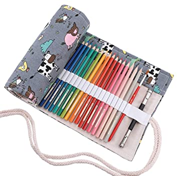 abaría - Estuche Enrollable para 36 lápices Colores, portalápices de Lona - Animal Lindo (no Tiene lápices)