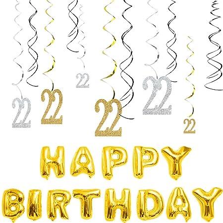 MAGJUCHE 22 cumpleaños decoraciones Kit-Gold plata purpurina ...