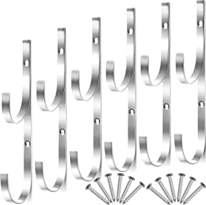 6 Pieces Pool Pole Hook Hanger Swimming Metal Brackets Pool Hook with 12 Pieces Screws for Telescopic Poles, Skimmers, Leaf Rakes, Net, Brush, Vacuum Hose, Garden and Pool Accessories (Silver)