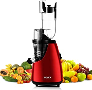 ROVKA Slow Masticating Juicer Extractor, 3.15 Inches Wide Chute Cold Press Juicer for Easy Juice and Clean, High Juice Yield for Frui