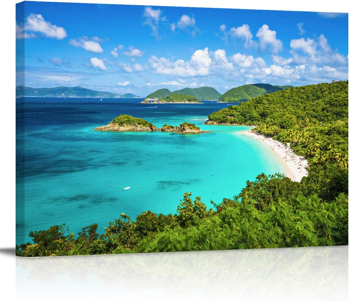 Canvas Wall Art Print Artwork Wall Art Decor United States Virgin Islands Trubk Bay Blue Sea and White Clouds Stretched & Framed Artwork Prints Ready to Hang Home Decor Wall Decor- 24''x16''