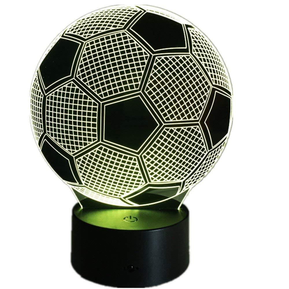 3D Fútbol Ilusión Lámpara luz Nocturna 7 Colores Cambiantes Touch ...