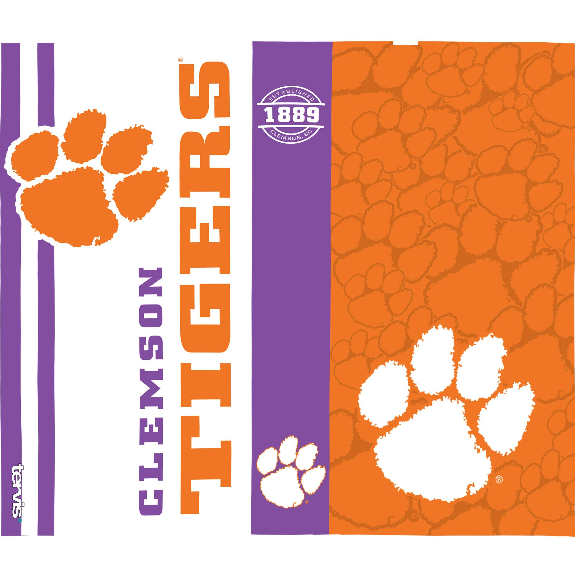 Tervis 1220293 Clemson Tigers College Pride Tumbler with Wrap and Purple Lid 24oz Water Bottle, Clear by Tervis (Image #2)